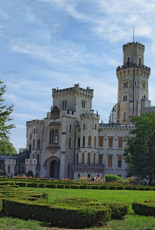 Beautiful white renaissance castle Hluboka nad Vltavou, South Bohemia, Czech Republic. Summer morning.  royalty free stock photo