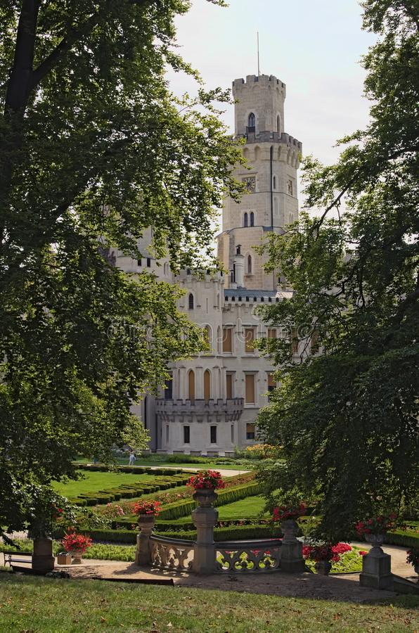 Beautiful white renaissance castle Hluboka nad Vltavou, South Bohemia. Summer morning.  royalty free stock photos