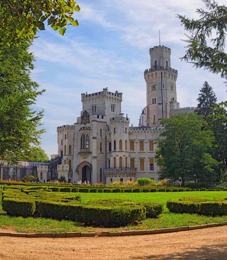 Beautiful white renaissance castle Hluboka nad Vltavou, South Bohemia. Summer morning. HLUBOKA NAD VLTAVOU, CZECH REPUBLIC - AUGUST 24, 2017: Beautiful white stock images