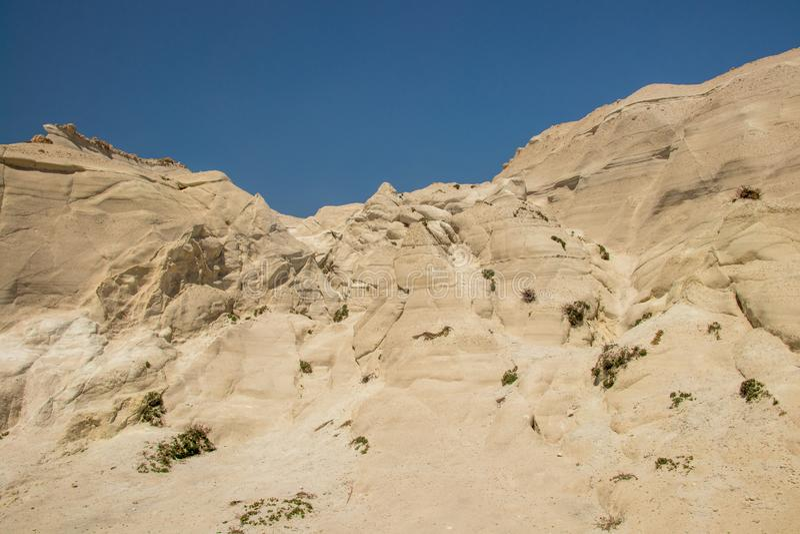 Beautiful white rocks on Sarakiniko beach, Milos. Cyclades, Aegean seas, Greece stock images
