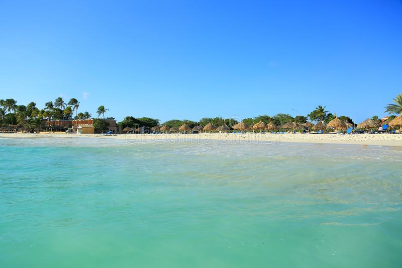 Beautiful white sand beach of Aruba island stock photos
