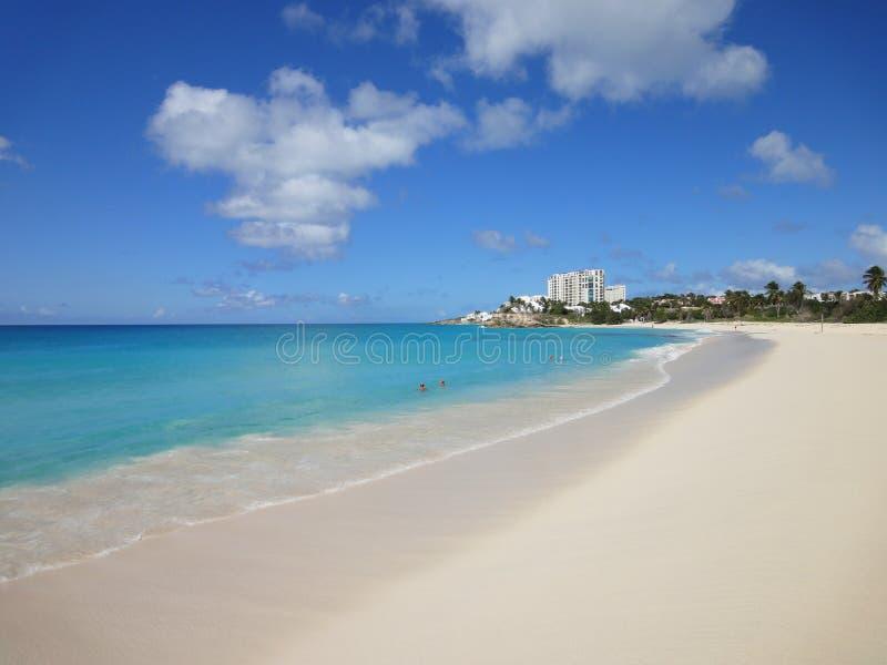 Beautiful white sandy beach, Mullet Bay, the Caribbean. stock photo