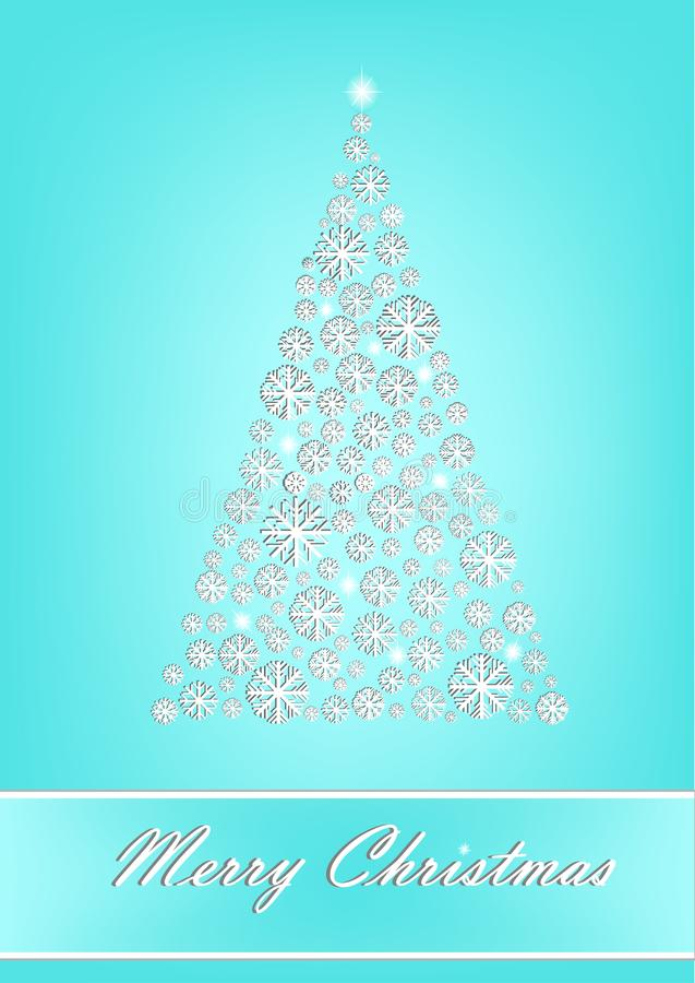 Download Beautiful White Snowflake Christmas Tree On The Turquoise Background Vertical Vector Stock