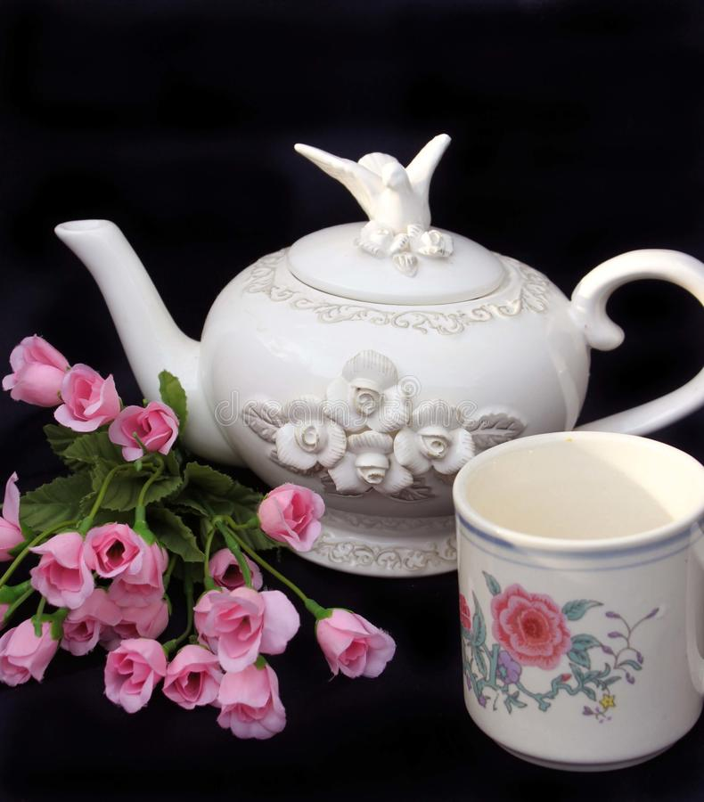 Beautiful white teapot stock photo