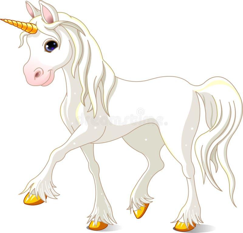 Beautiful White Unicorn stock illustration