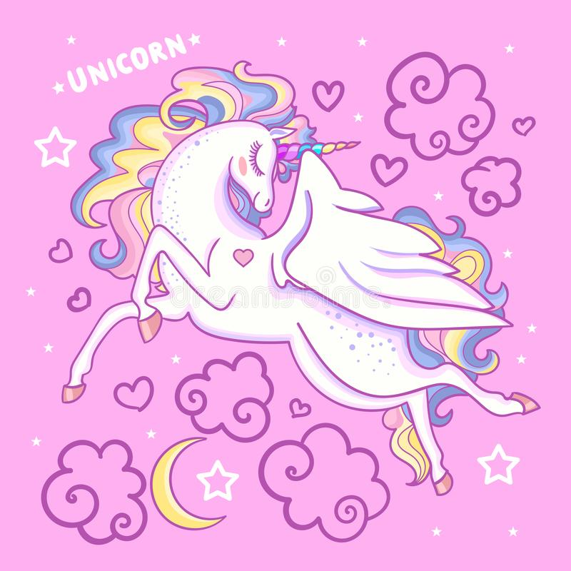 Beautiful white unicorn on a pink background. Vector. Beautiful white unicorn on a pink background among the stars of the clouds. For design prints, posters, etc royalty free illustration