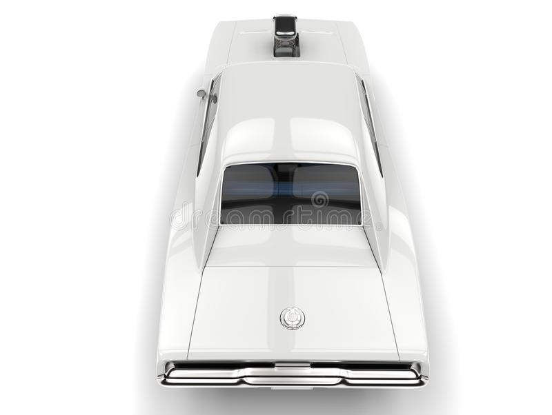 Beautiful white vintage American muscle car - overhead back view royalty free illustration