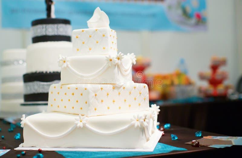 Beautiful white wedding cake stock image
