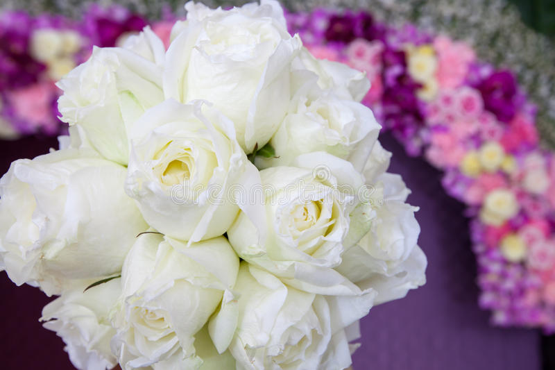 Beautiful white wedding flowers bouquet