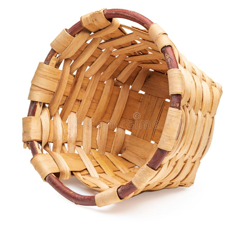 Free Beautiful Wicker Basket Lying And Empty. Craftsman And Handmade At Home. Side View. Royalty Free Stock Photos - 159003708