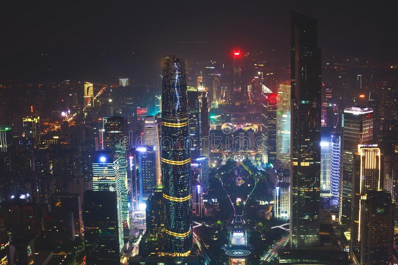 Beautiful wide-angle night aerial view of Guangzhou Zhujiang New Town financial district, Guangdong, China with skyline and scener royalty free stock photos