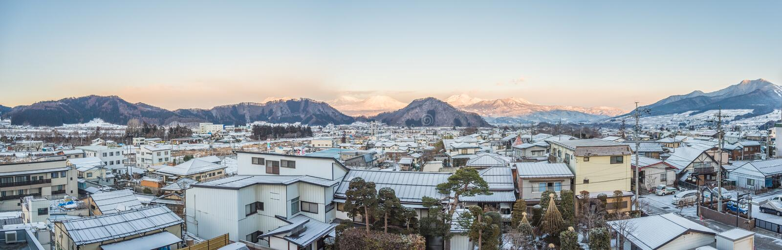 Panorama view of town yudanaka , japan. Beautiful wide panorama view from roof top town of Yudanaka , Japan . Famous town of snow monkey stock image