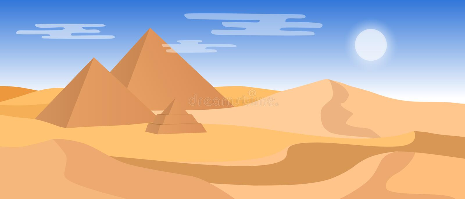 Beautiful widescreen desert landscape with yellow sand dunes and pyramids stock illustration