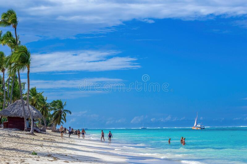 Beautiful wild and sand beach in Punta Cana, Dominican Republic royalty free stock photos