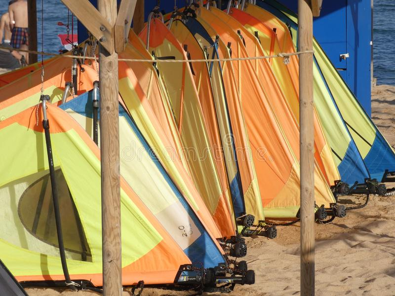 Wind surf boards in the sand royalty free stock photos