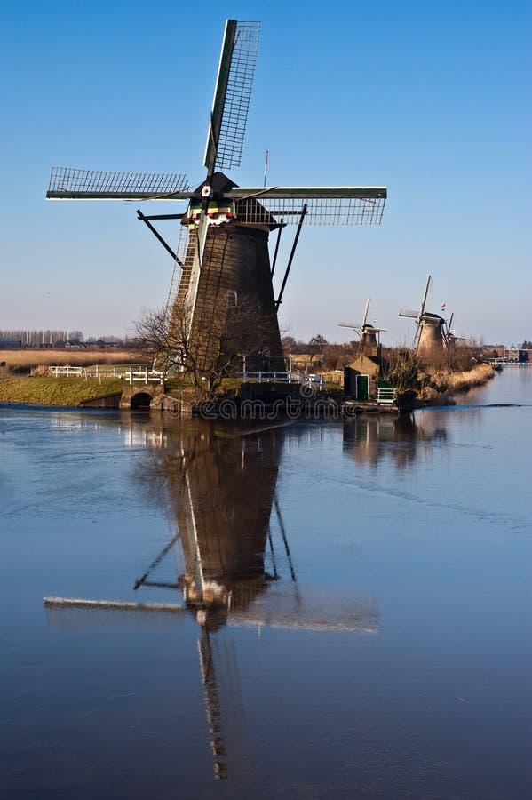 Beautiful windmill landscape at kinderdijk stock photography