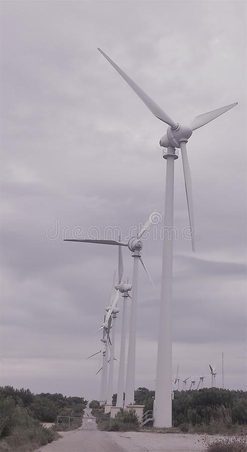 Beautiful windmill view, renewable energy. Windmill view for electric power production, renewable energy sources stock photography