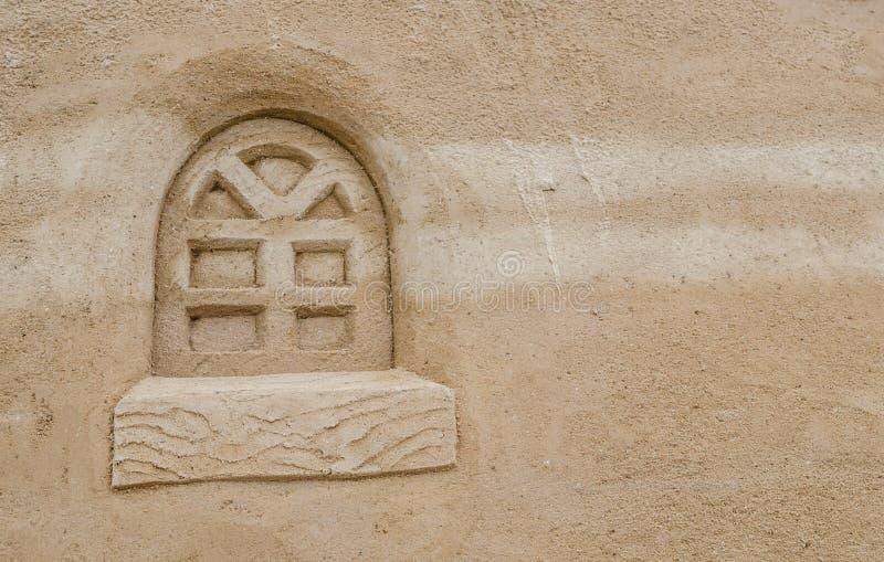 Beautiful window cartoon style pattern on sand texture surface. A beautiful window cartoon style pattern on sand texture surface stock photos