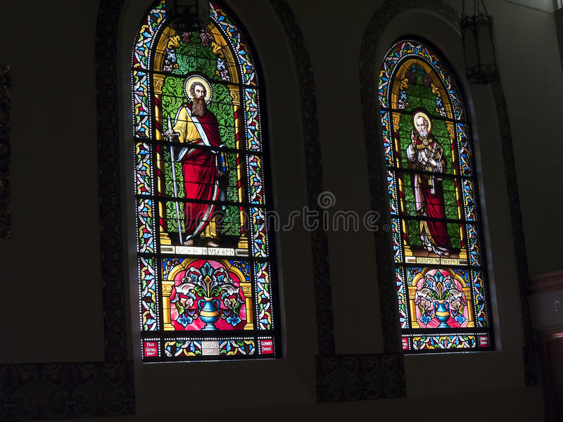 The beautiful windows of the Loretto Chapel in the Cathedral of St Francis of Assisi in Santa Fe New Mexico stock photo