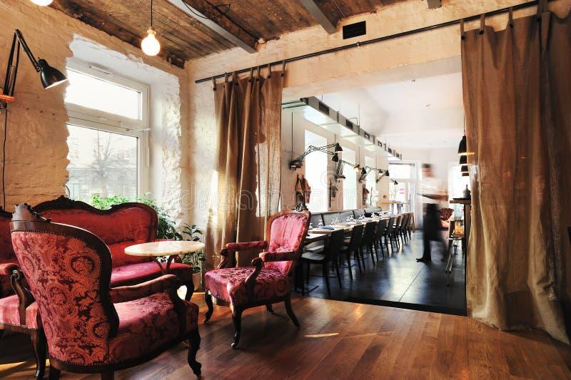 Beautiful wine restaurant interior stock photo