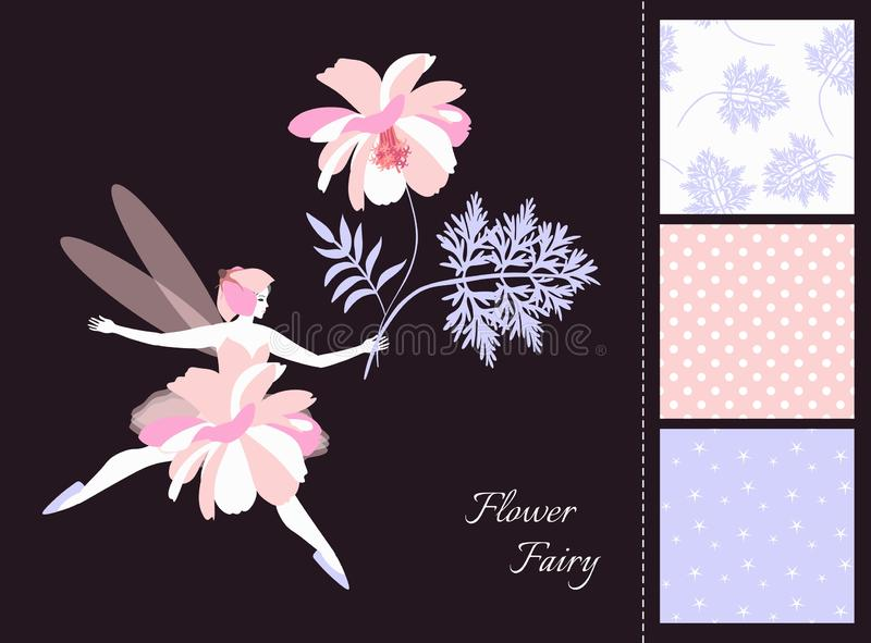 Beautiful winged fairy girl with flower. Card and set of seamless patterns in tender colors. stock illustration