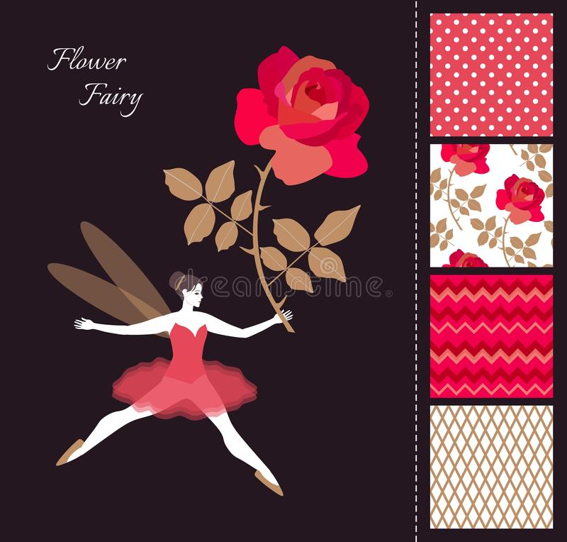 Beautiful winged fairy girl with red rose. Card and set of seamless patterns in bright colors. Fashion design for clothing. vector illustration