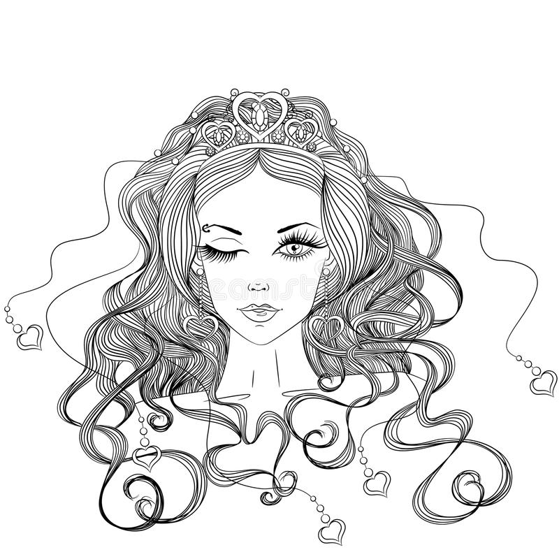 Beautiful winking girl. Line art. Vector illustration with a portrait of a beautiful winking girl with long hair in a tiara. Isolated on white background royalty free illustration