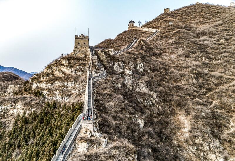 Beautiful winter aerial drone view of Great Wall of China Mutianyu section near Bejing royalty free stock photography