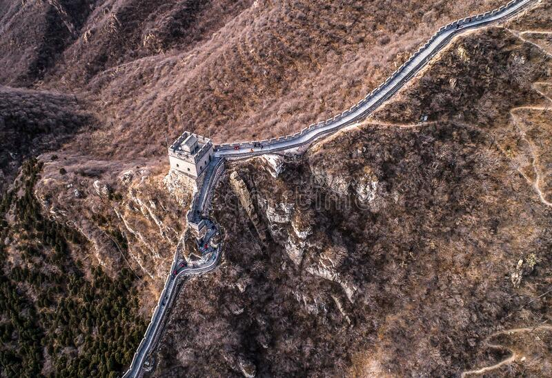 Beautiful winter aerial drone view of Great Wall of China Mutianyu section near Bejing royalty free stock image