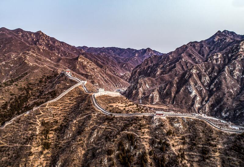 Beautiful winter aerial drone view of Great Wall of China Mutianyu section near Bejing stock photo