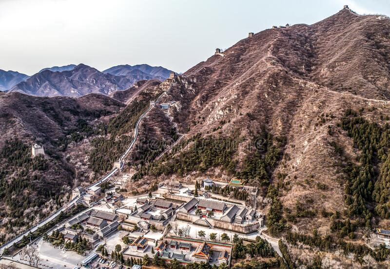 Beautiful winter aerial drone view of Great Wall of China Mutianyu section near Bejing royalty free stock images