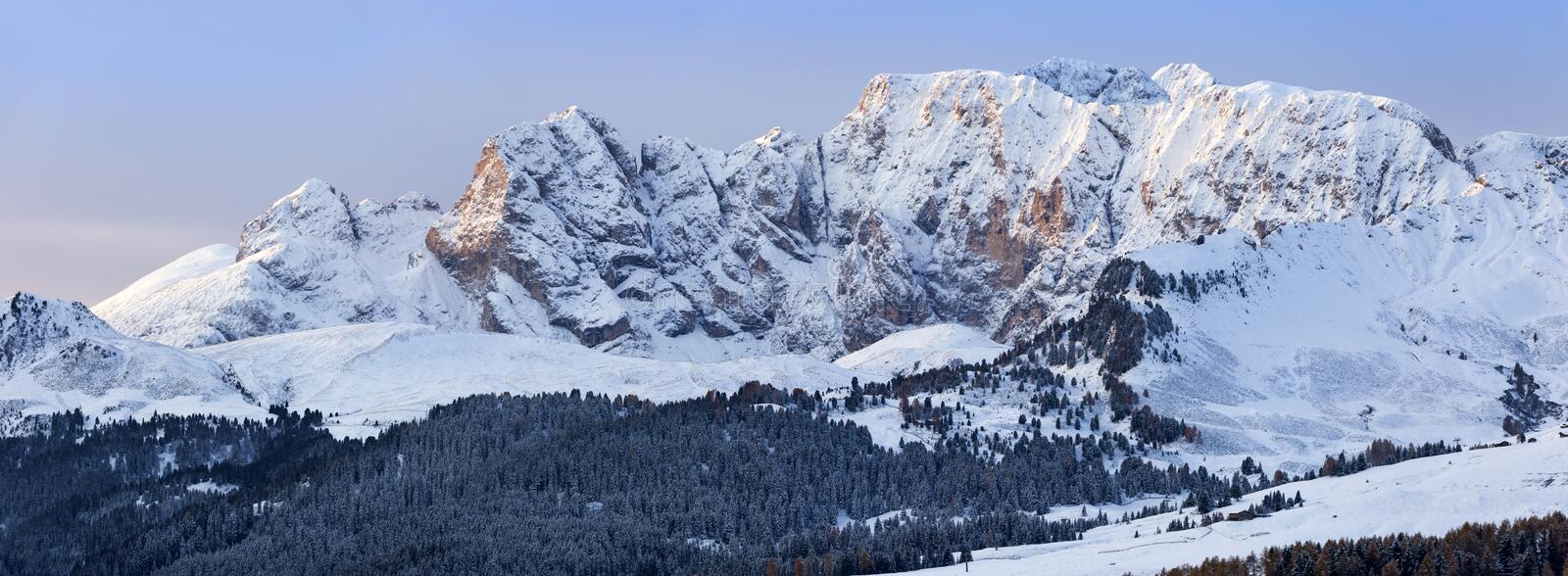 Beautiful Winter at Alpe di Siusi, Seiser Alm - Italy - Holiday background for Christmas. Alpine, alps, beauty, blizzard, blue, card, celebration, cold royalty free stock images