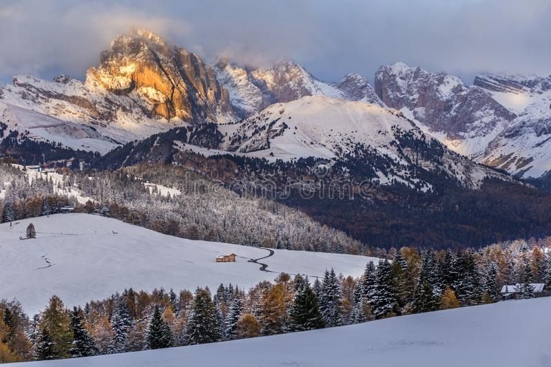 Beautiful Winter at Alpe di Siusi, Seiser Alm - Italy - Holiday background for Christmas. Alpine, alps, beauty, blizzard, blue, card, celebration, cold royalty free stock image