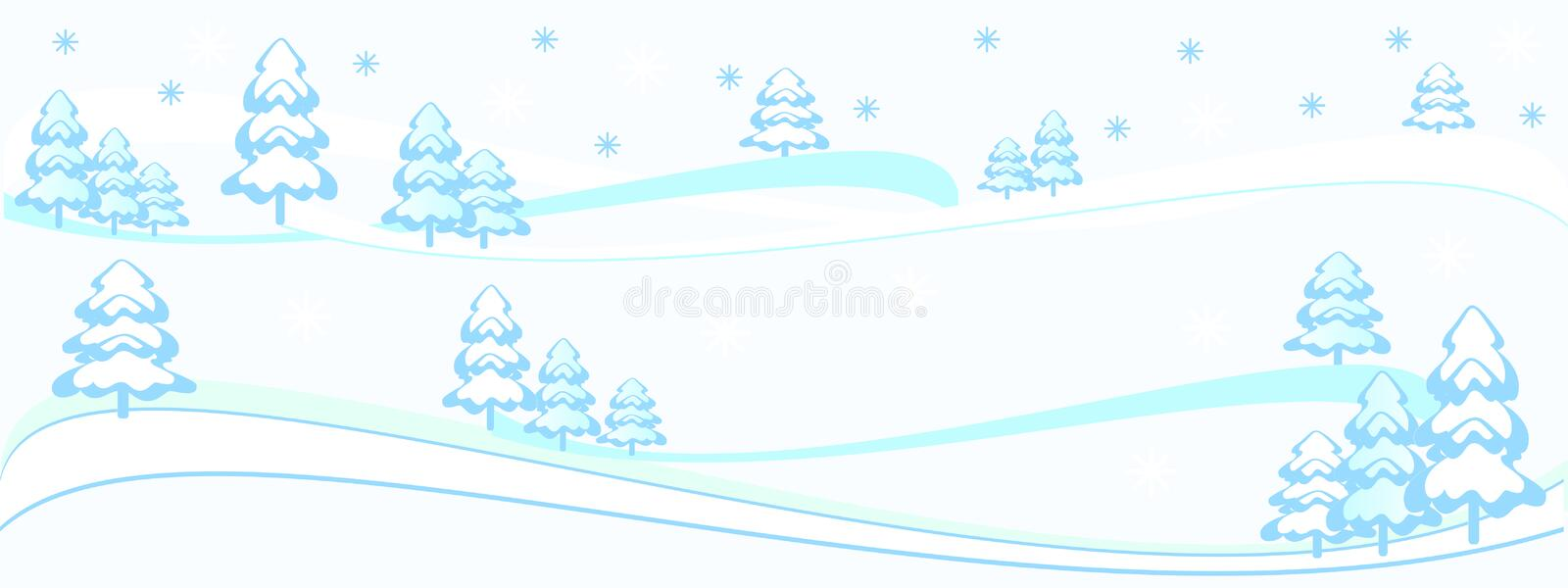 winter illustration backdrop white, light blue, turquoise, snowy trees forest & snowflakes, light, transparent. royalty free illustration