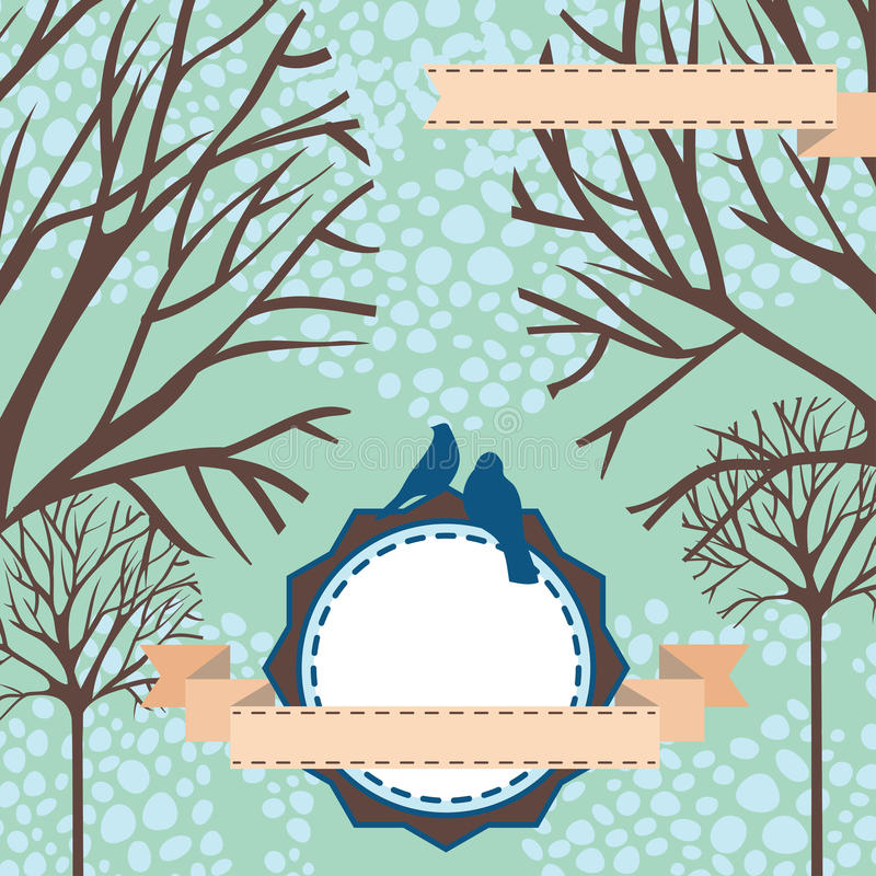 Beautiful winter card with trees, snow, birds and place for text royalty free illustration