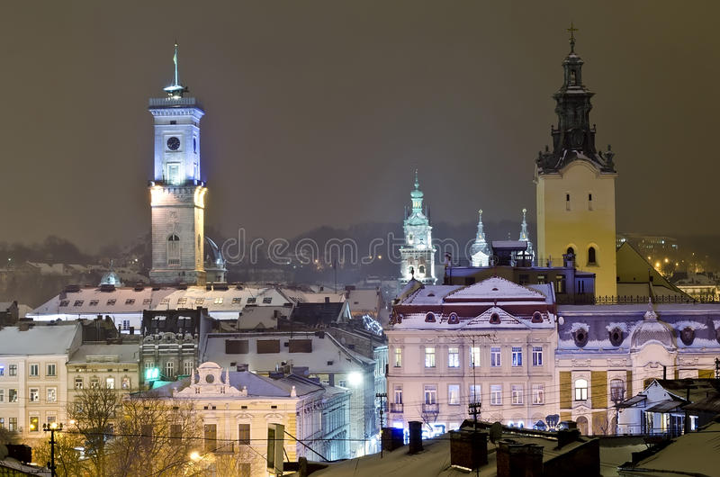 Beautiful winter cityscape in the center of Lvov city royalty free stock image