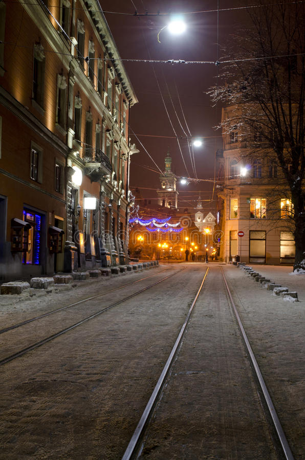 Beautiful winter cityscape in the center of old Lvov city at the