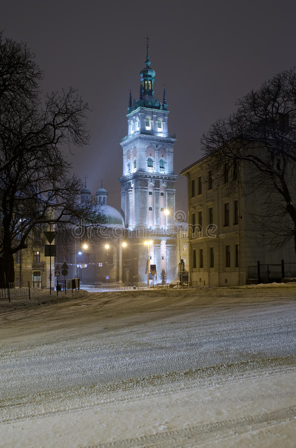 Beautiful winter cityscape at the night - Assumption Church in L