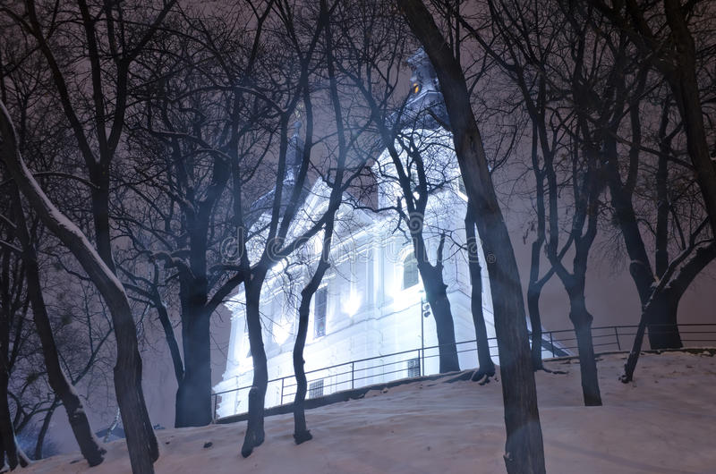 Download Beautiful Winter Cityscape At The Night - Catholic Church Discal Stock Photography - Image: 28866092