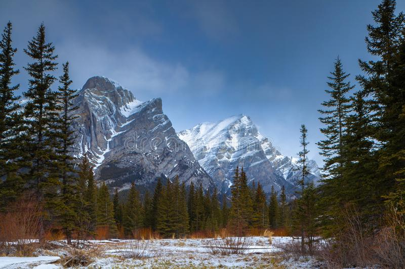 A beautiful winter day in the mountains of Kananaskis in Peter Lougheed Provincial Park, Alberta. Canada royalty free stock photography