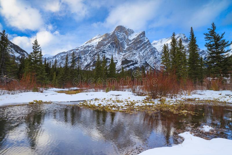 A beautiful winter day in the mountains of Kananaskis in Peter Lougheed Provincial Park, Alberta. Canada stock image