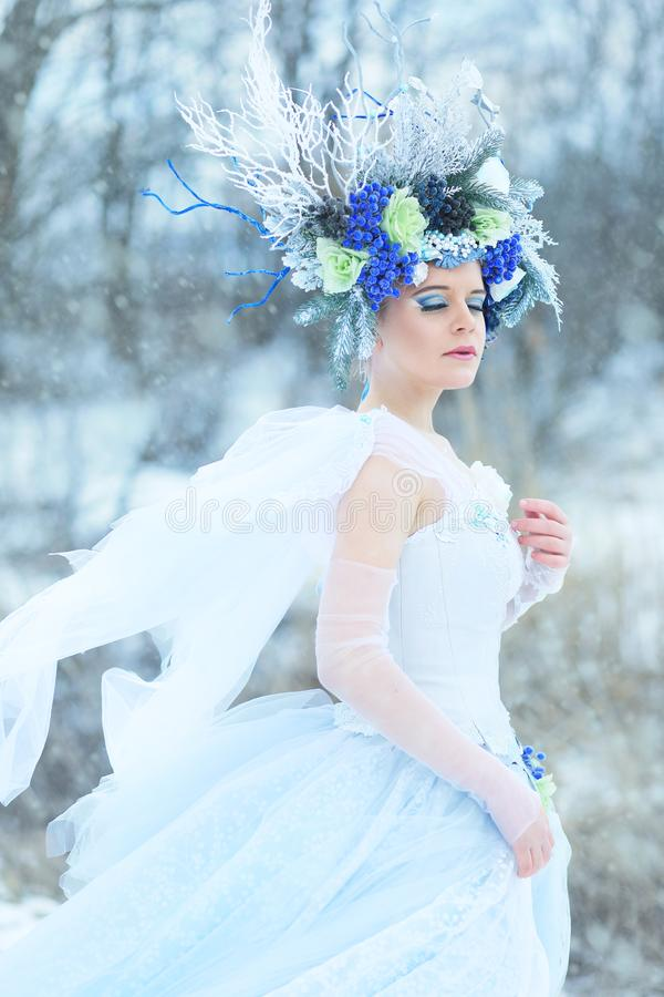 Beautiful winter fairy royalty free stock photo