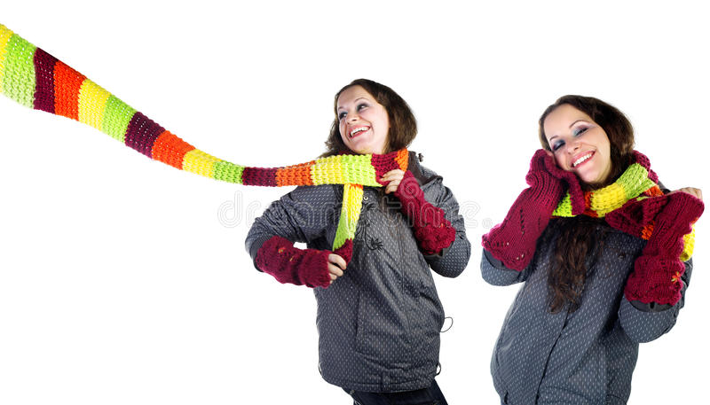 Download Beautiful Winter Girl In  Colorful Scarf Stock Image - Image: 12497049