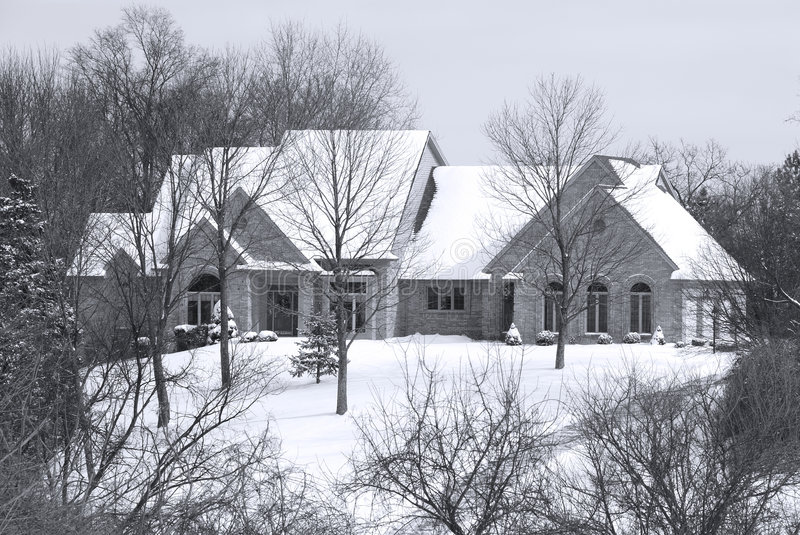 Beautiful Winter Home In A Secluded Country Setting Stock Photography