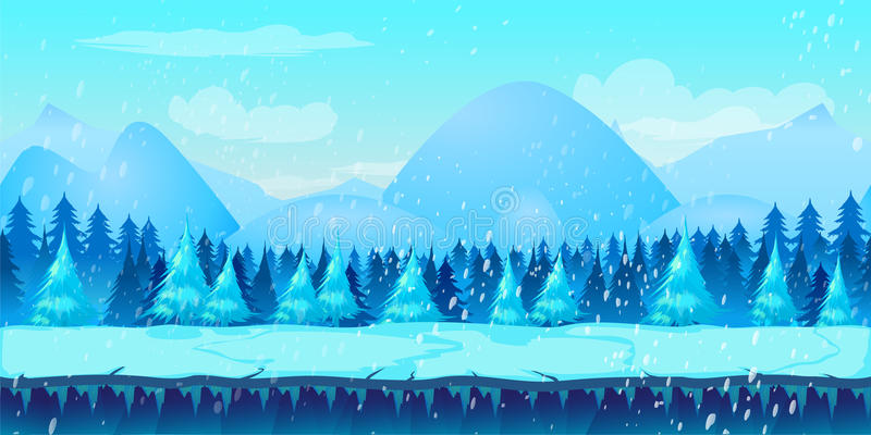 Beautiful Winter Landscape 2d game application. royalty free illustration