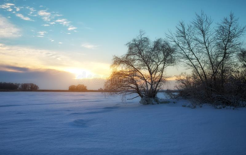 Beautiful winter landscape with frozen lake, trees and sunset. Sky stock images