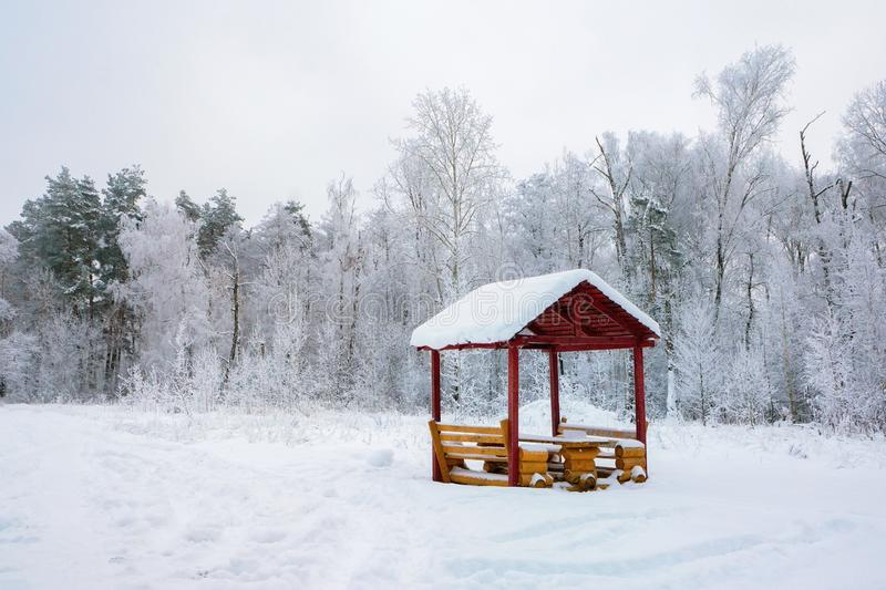 Beautiful winter landscape with gazebo in the Park in the cold at dawn. Shining cold in the winter Park. Christmas background royalty free stock photography