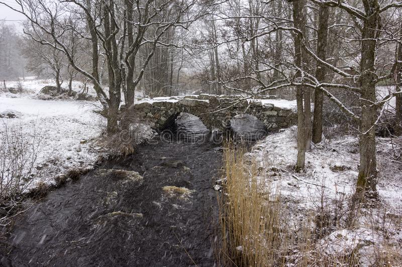Beautiful winter landscape with a little old bridge. Snowy weather in Sweden stock photo