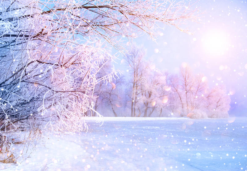 Beautiful winter landscape scene with ice river. Beautiful winter landscape scene with snow covered trees and ice river stock image