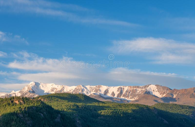 Beautiful winter landscape with snow covered mountain peaks stock photography